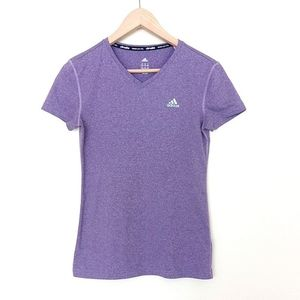 Adidas Climalite Light Purple V Neck T Shirt